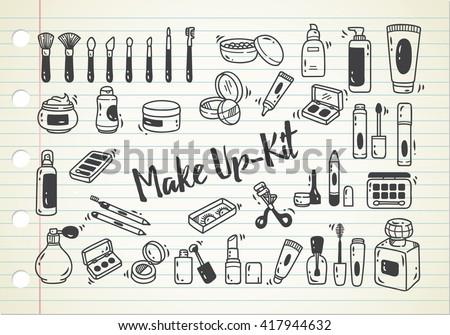 set of make up kit doodle - stock vector