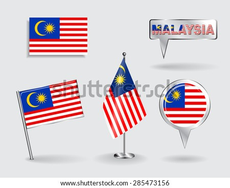 Set of Malaysian pin, icon and map pointer flags. Vector illustration. - stock vector