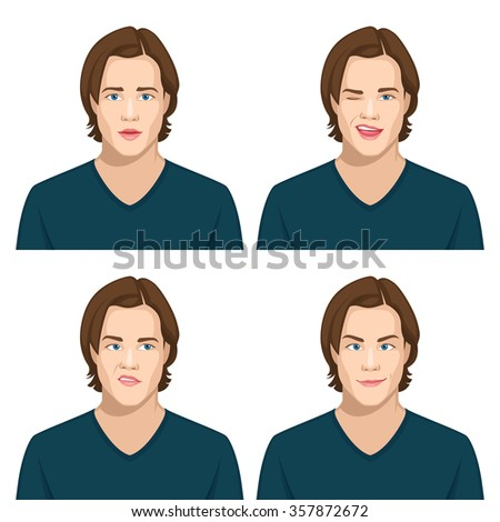 Set of male avatar expressions 2 - stock vector