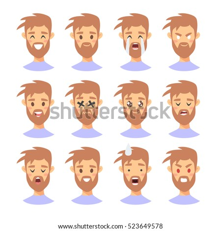 set male emoji characters cartoon style stock vector hd (royalty