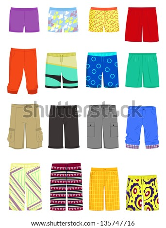 Set of male shorts and  swimming trunks - stock vector