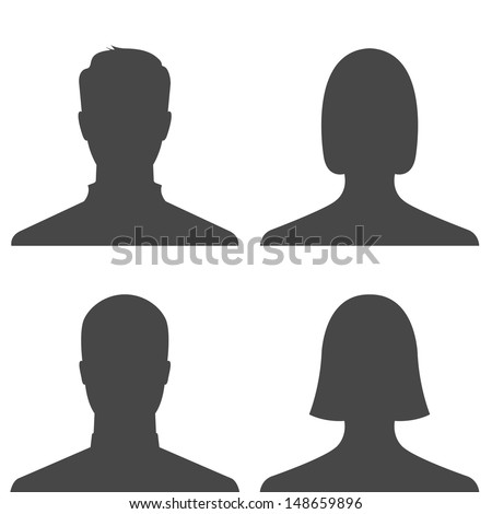 Set of man and woman avatar profile pictures - vector - stock vector