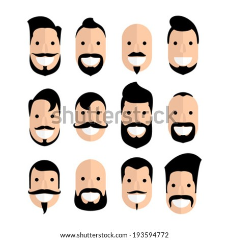 Set of man cartoon faces with beard and mustache - stock vector
