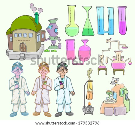 set of man, laboratory and laboratory tools - stock vector