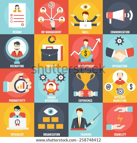 Set of Management Human Resources- vector icons - stock vector