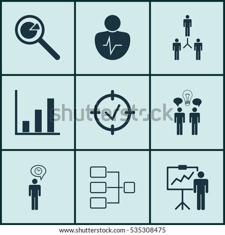 Set 9 Management Icons Includes Team Stock Vector 535308475