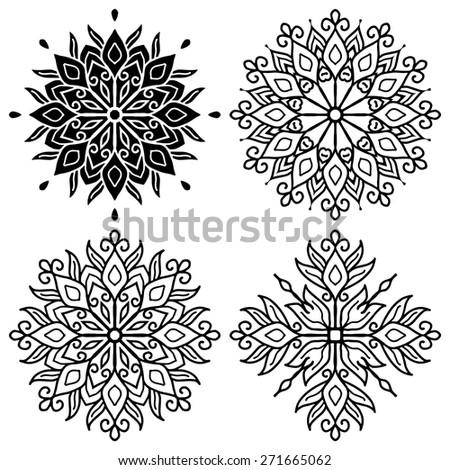 Set Of Mandalas. Vector Ethnic Oriental Circle Ornament.  - stock vector