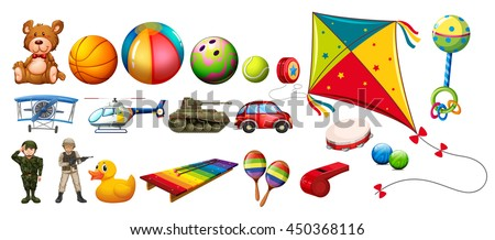 Set of many colorful toys illustration - stock vector