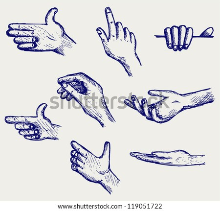 Set of many different hands. Doodle style - stock vector