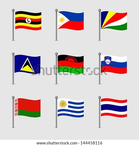 Set of Map flag icon, Vector - stock vector