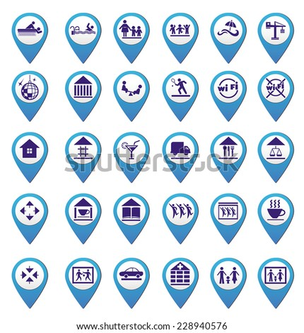 set of map markings for info-graphics - stock vector