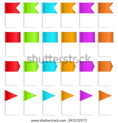 set of map pointers isolated on  white background - stock vector