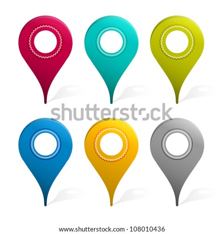 Set Of Mapping Pins Icon, Isolated On White Background, Vector Illustration - stock vector