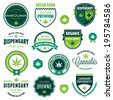 Set of marijuana pot product labels and logo graphics - stock vector