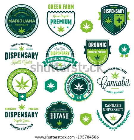 Set of marijuana pot product labels and logo graphics - stock vector