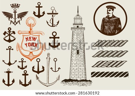 Set of marine and nautical elements. Vector - stock vector
