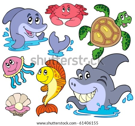 Set of marine animals - vector illustration. - stock vector