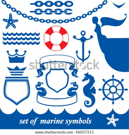 Set of marine elements - chain, anchor, crown, shield, wheel, noun, etc. - stock vector