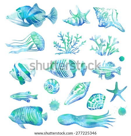 Set of marine fish and seashells. Vector illustration. Watercolor background. Angelfish. Tropical fish. Blue sea background. Isolated elements for easy use. - stock vector