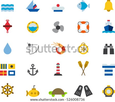 set of MARINE & NAUTICAL color flat icons