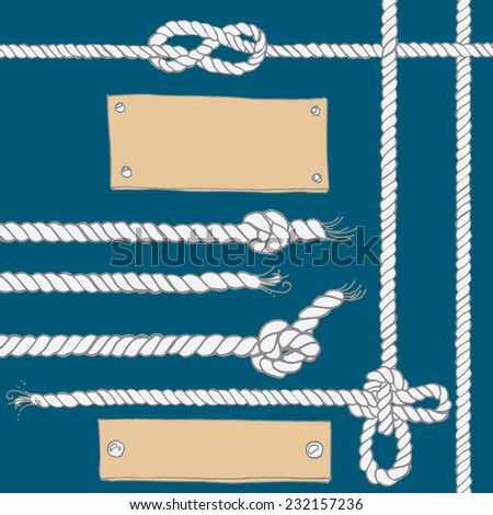 Set of marine rope, knots, plates. Vector elements on a white background. Drawing a color line - stock vector