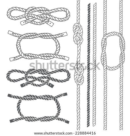 Set of marine rope, knots. Vector elements on a white background. Hand-drawn vector illustration. - stock vector