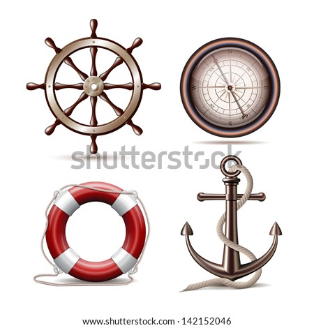 Set of marine symbols on white background. Vector Illustration. - stock vector