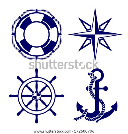 Set of marine symbols  Vector Illustration. - stock vector