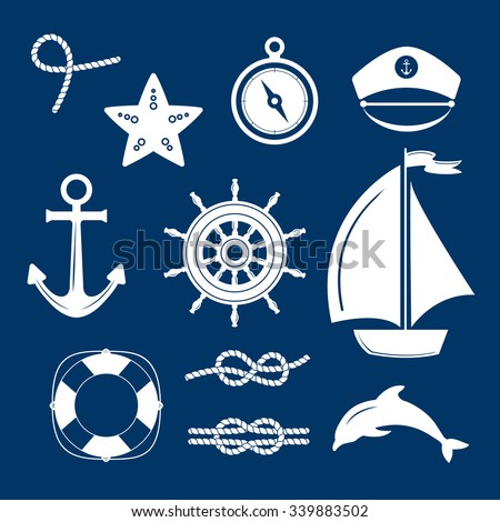 Set of marine symbols. Vector of Nautical and marine icons. Collection of element: anchor, starfish, boat, lifebuoy, compass, helm. Set of sea and nautical decorations. Sea leisure sport.