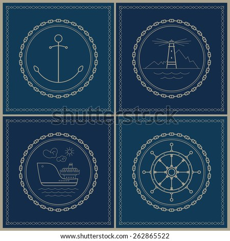 Set of maritime emblems.  Anchor,lighthouse, cargo ship, ship's wheel, vector illustration - stock vector