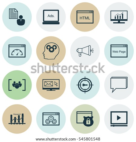 Set 16 Marketing Icons Includes Web Stock Vector 545801548