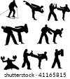 Set of martial arts people silhouette - stock