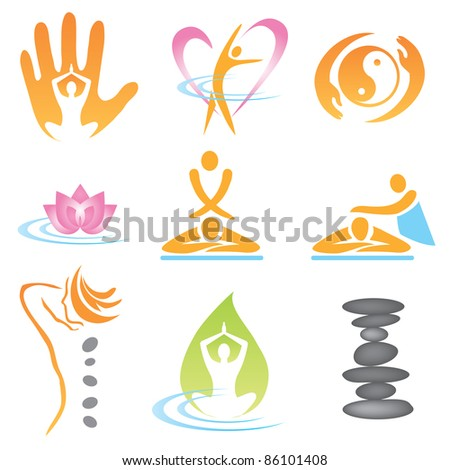Set of massage , wellnes and spa icons. Vector illustration. - stock vector