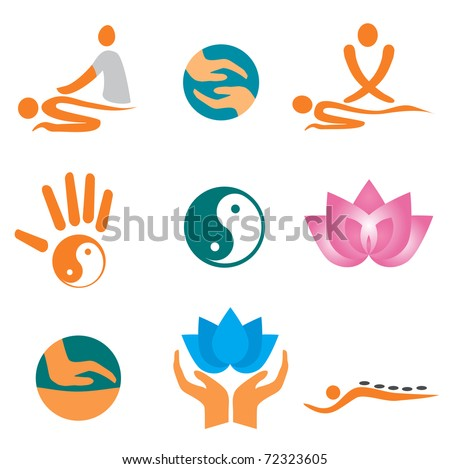 Set of massage , wellness and spa icons. Vector illustration - stock vector