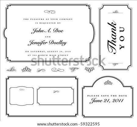 Set of matching vector frames and ornaments with sample text. Perfect as invitation or announcement. All pieces are separate. Easy to change colors and edit. - stock vector