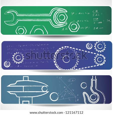 Set of mechanical  banners. Eps10 .Image contain transparency and various blending modes - stock vector