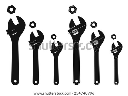 Set of mechanical wrenches with nuts. Vector silhouettes clip art illustration isolated on white - stock vector