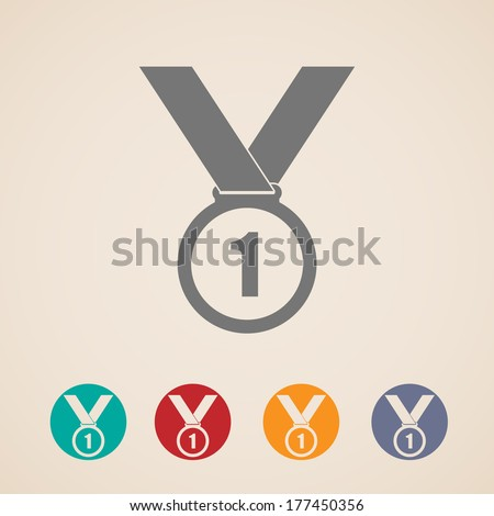 set of medal icons - stock vector