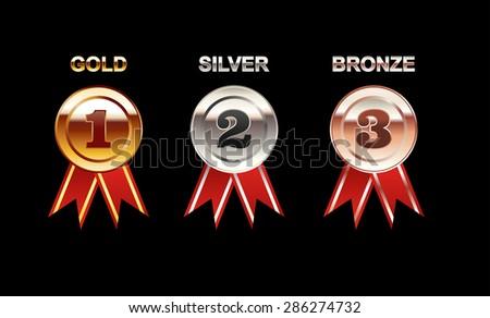 Set of Medals illustration. Gold Medal. Silver Medal. Bronze Medal. Polish medal with red ribbon. Bright medal. - stock vector