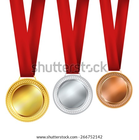 set of medals on white background - stock vector