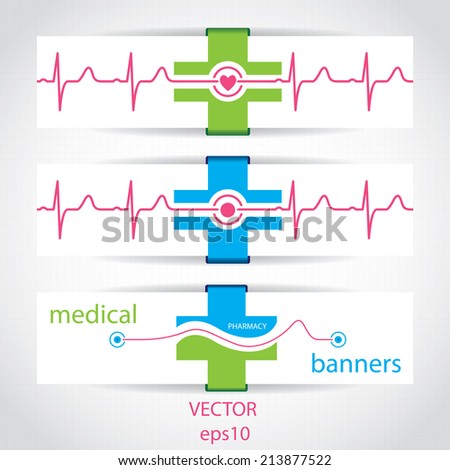 Set of medical banners or website headers  - stock vector