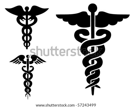 Set of medical caduceus - stock vector