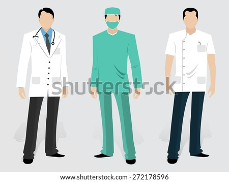 Set of Medical characters including a young Doctor, Surgeon and Dentist in uniform on grey background.  - stock vector
