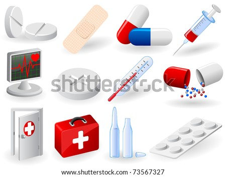 Set of medical icons, illustration - stock vector
