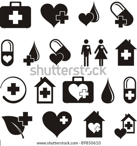 set of medical icons isolated on White background. Vector illustration - stock vector