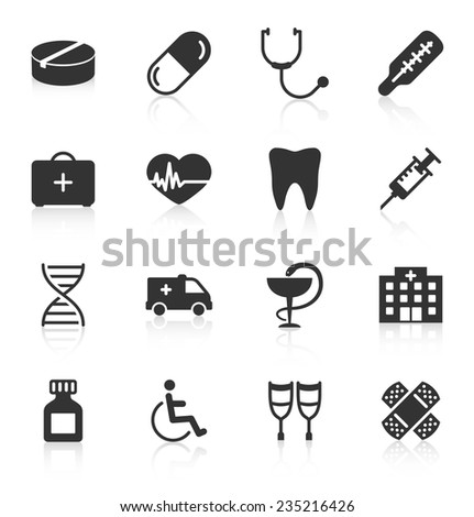 Set of medical icons on white background. Vector illustration - stock vector
