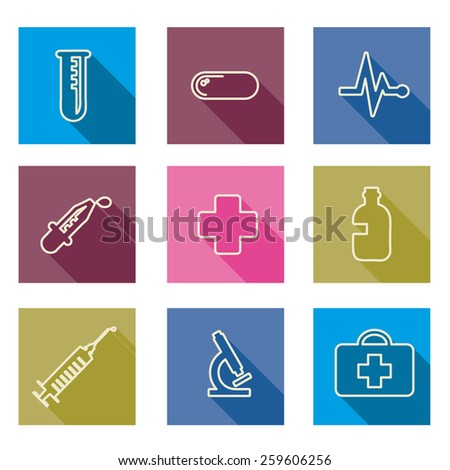 set of medical line icons -Vector illustration  - stock vector