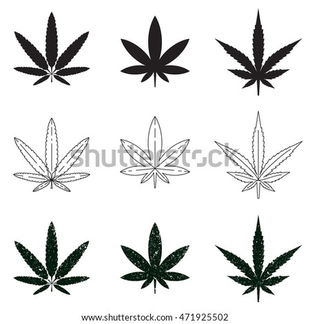 Set Medical Marijuana Symbols Logos Icons Stock Vector Royalty Free