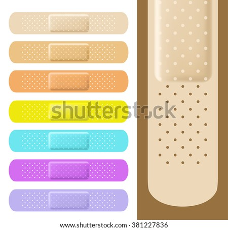 set of medical plasters with different colors. Adhesive bandage. vector - stock vector