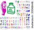 Set of medical sketches. Part 8. Isolated groups and layers. Global colors. - stock vector